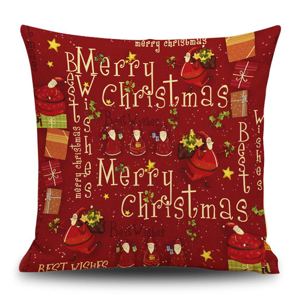 Christmas Wishes Print Decorative Linen Sofa PillowcaseHOME<br><br>Size: 45*45CM; Color: RED; Material: Linen; Pattern: Letter,Santa Claus; Style: Festival; Shape: Square; Weight: 0.1200kg; Package Contents: 1 x Pillowcase;