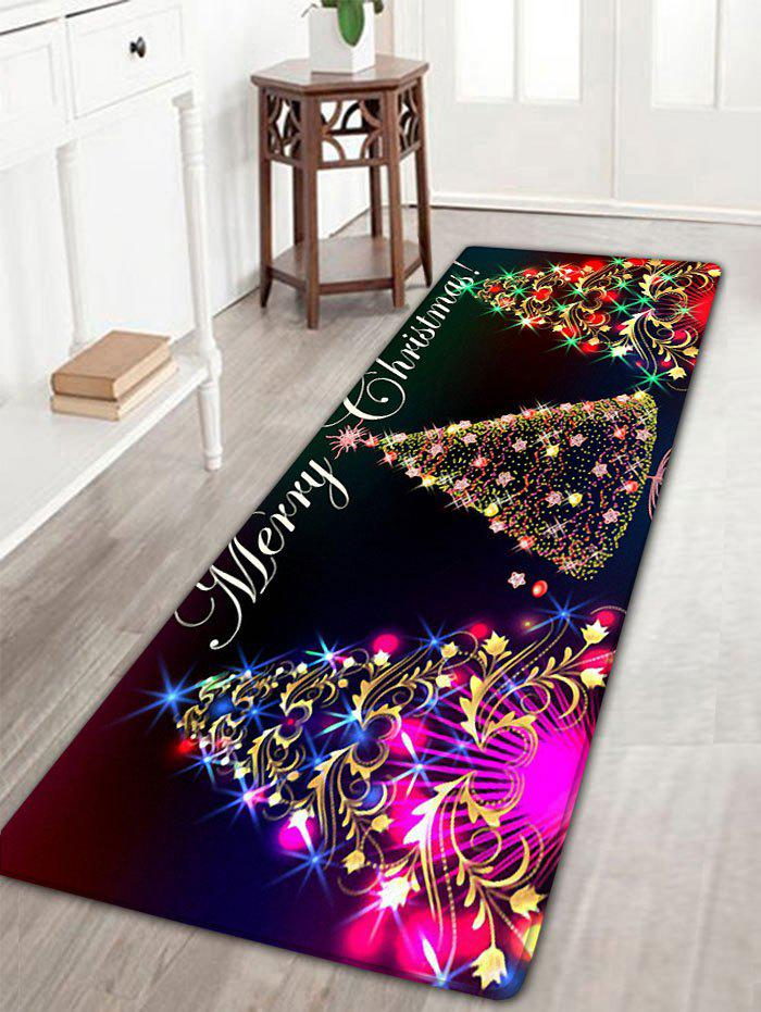Outfits Neon Christmas Tree Print Flannel Antislip Bath Rug