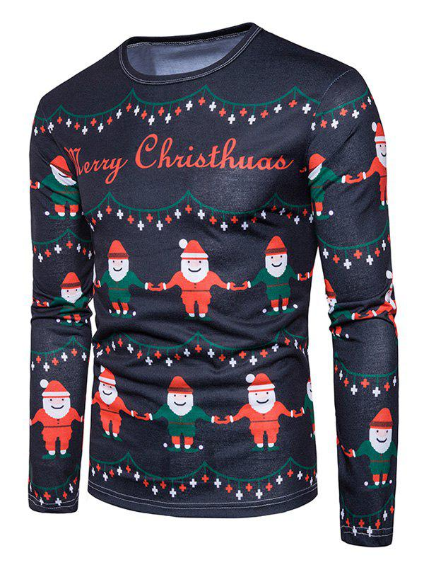 Christmas Elfin Print Ugly T-shirtMEN<br><br>Size: L; Color: COLORMIX; Material: Cotton,Polyester; Sleeve Length: Full; Collar: Crew Neck; Style: Casual,Fashion,Streetwear; Pattern Type: Character,Print; Season: Fall,Winter; Weight: 0.3100kg; Package Contents: 1 x T-shirt;