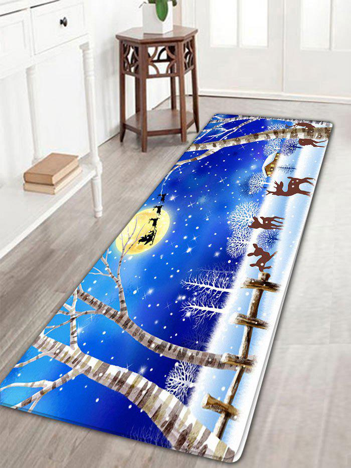 Flannel Nonslip Christmas Snowscape Print Bath MatHOME<br><br>Size: W16 INCH * L47 INCH; Color: BLUE; Products Type: Bath rugs; Materials: Flannel; Pattern: Animal,Moon,Plant; Style: Festival; Shape: Rectangular; Package Contents: 1 x Rug;