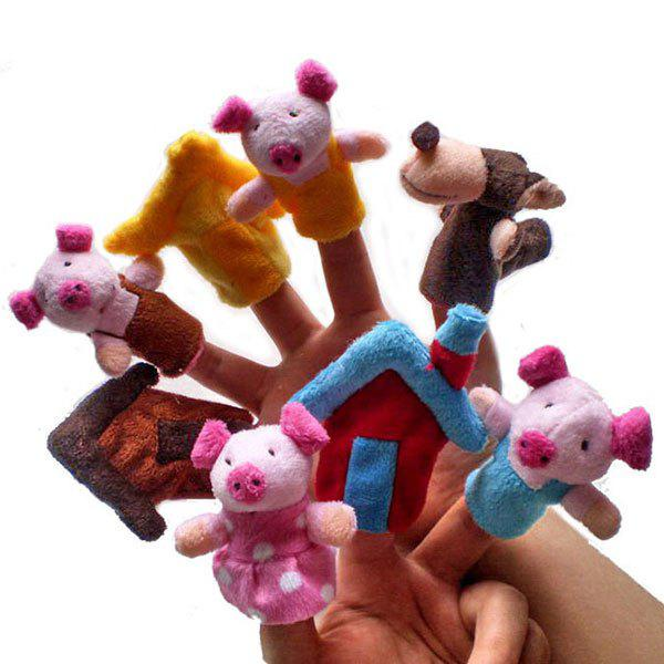 8 Pcs/Set Pig Family Shape Finger PuppetHOME<br><br>Color: COLORFUL; Products Type: Finger Toy; Style: Novelty; Material: Plush; Package Contents: 1 x Finger Puppets (Set);