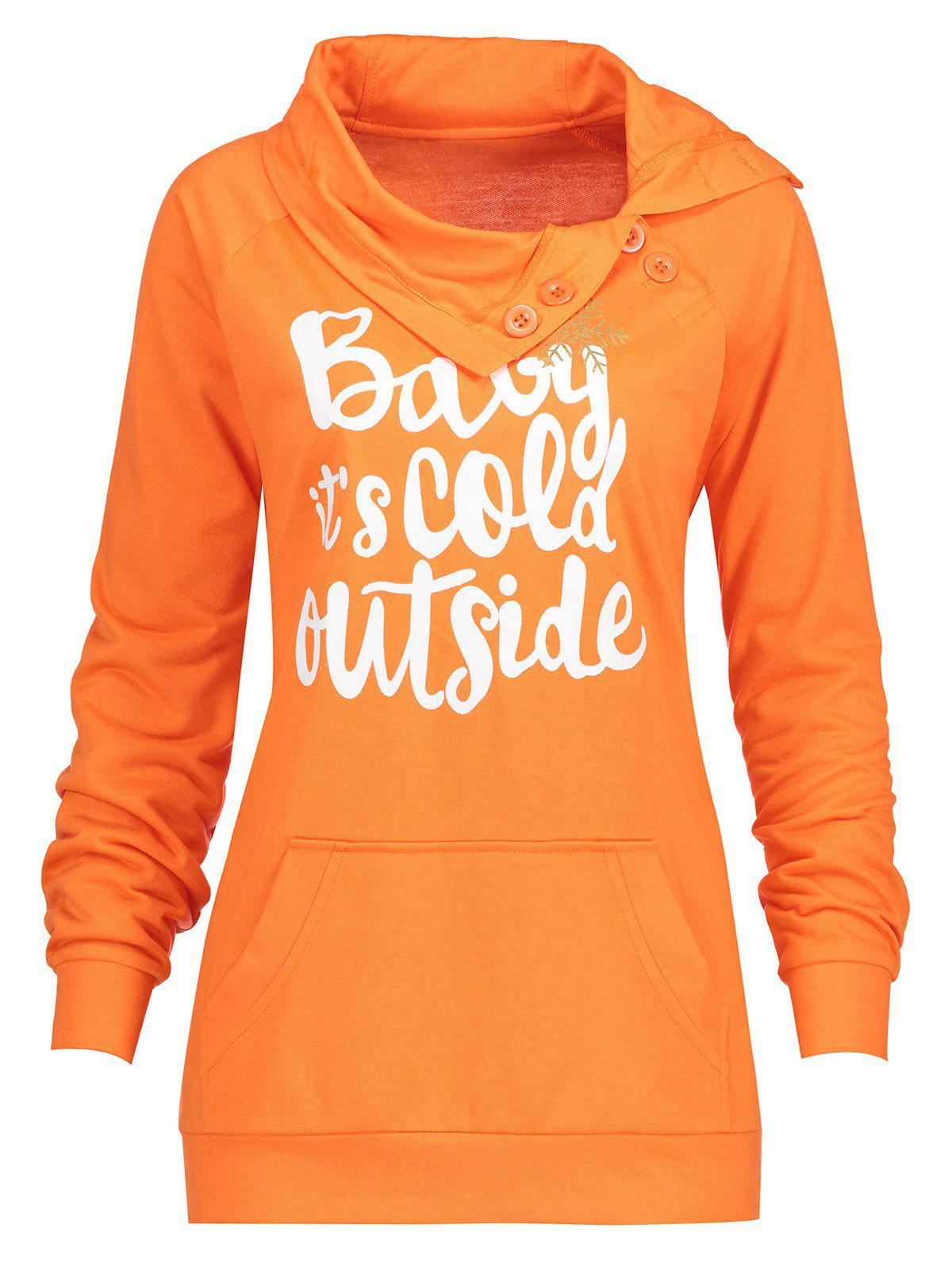 Christmas Letter Snowflake Print Plus Size SweatshirtWOMEN<br><br>Size: 2XL; Color: ORANGE; Material: Cotton,Polyester; Shirt Length: Regular; Sleeve Length: Full; Style: Fashion; Pattern Style: Letter; Season: Fall,Spring,Winter; Weight: 0.3600kg; Package Contents: 1 x Sweatshirt;