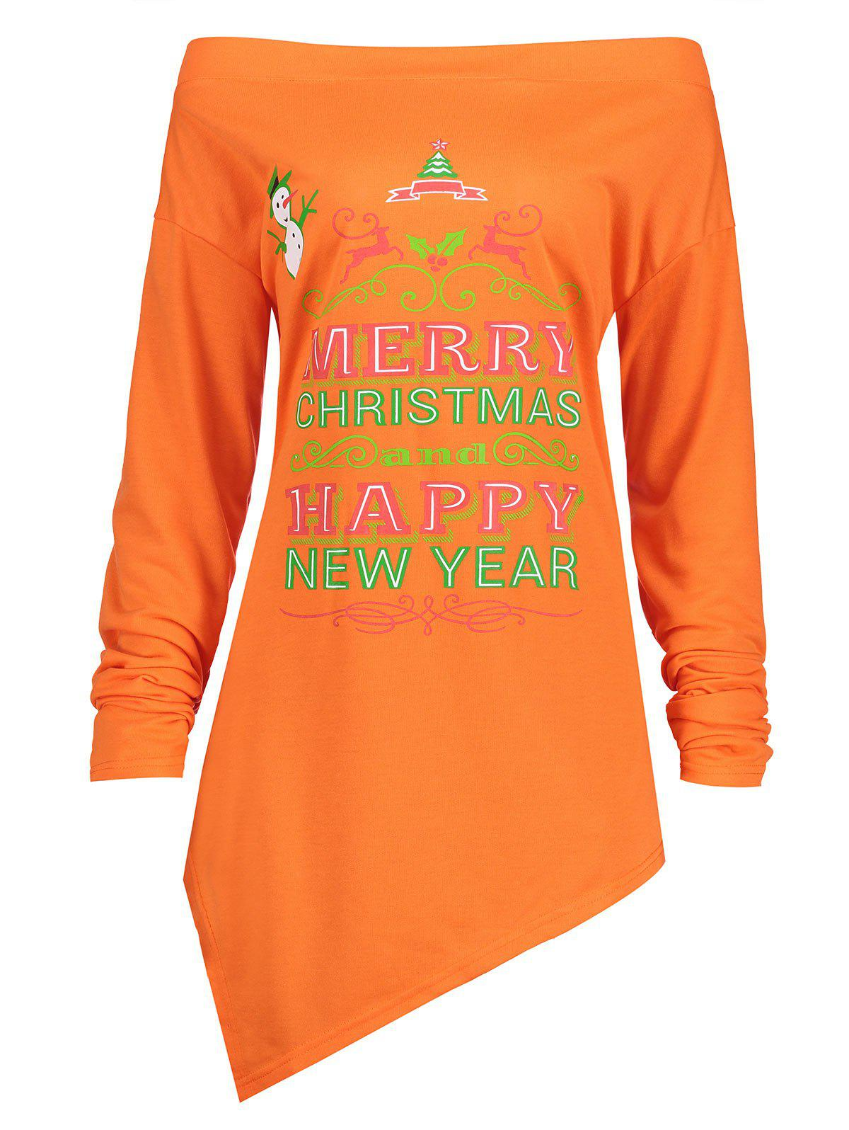 Christmas Snowman Plus Size Asymmetrical TeeWOMEN<br><br>Size: 4XL; Color: ORANGE; Material: Cotton,Polyester; Shirt Length: Long; Sleeve Length: Full; Collar: Off The Shoulder; Style: Fashion; Season: Fall,Spring,Winter; Pattern Type: Animal,Letter,Plant; Weight: 0.3700kg; Package Contents: 1 x T-shirt;