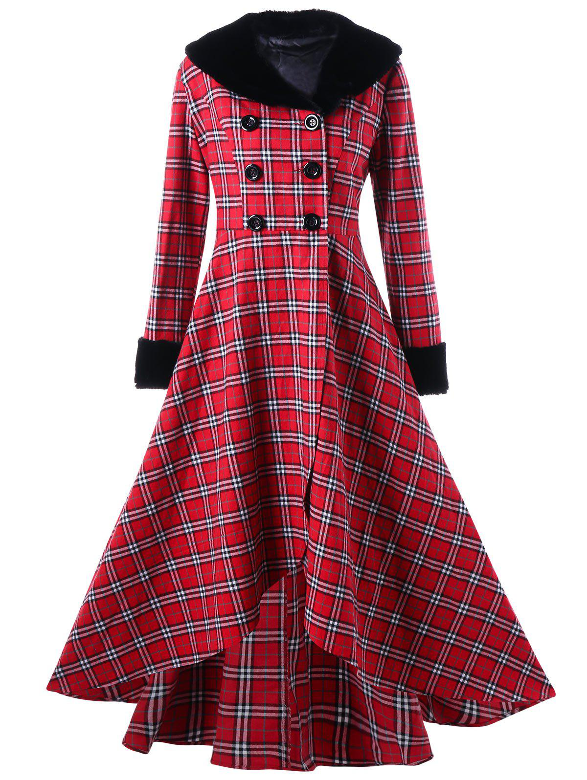 1f0692996c7 Latest Plus Size Double Breasted Checked Swing Coat