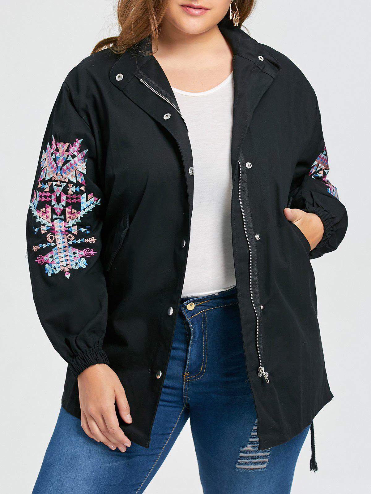Shops Plus Size High Low Patches Embroidered Coat