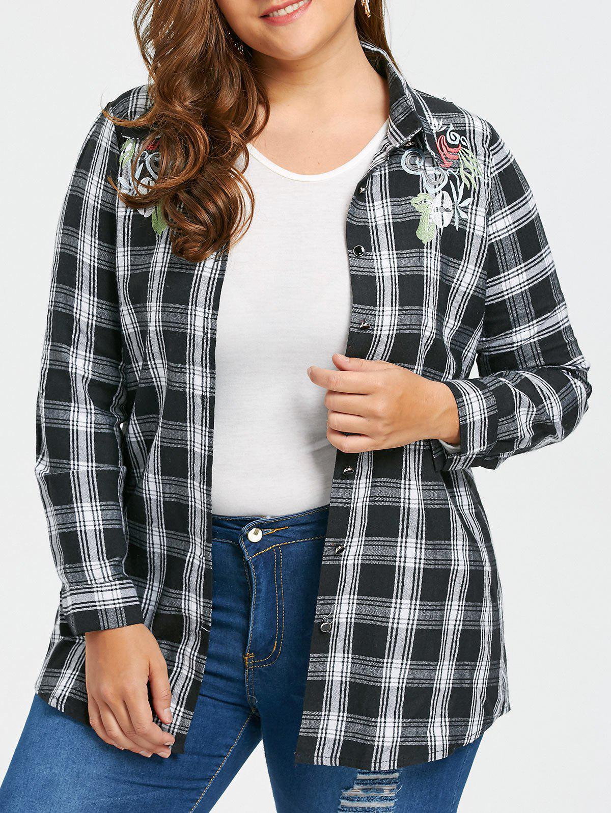 Trendy Embroidered Plus Size Checked Flannel Shirt