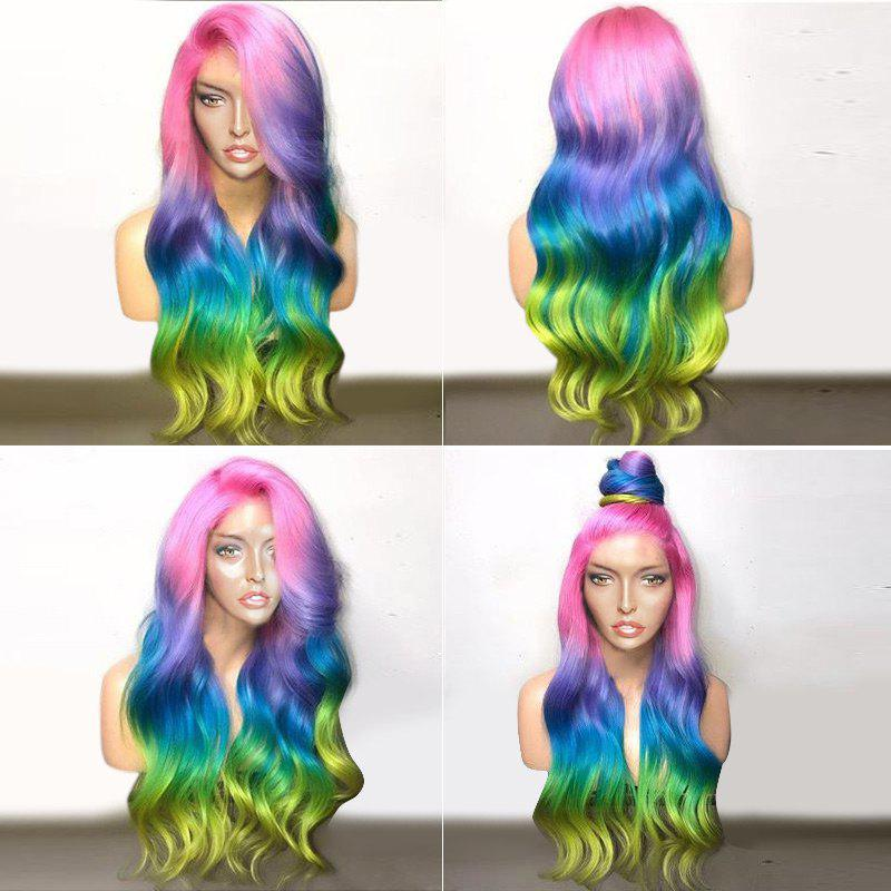 Deep Side Parting Long Colorful Wavy Ombre Party Synthetic WigHAIR<br><br>Color: COLORFUL; Type: Full Wigs; Cap Construction: Capless; Style: Wavy; Material: Synthetic Hair; Bang Type: Deep Part; Length: Long; Length Size(CM): 72; Weight: 0.3200kg; Package Contents: 1 x Wig;