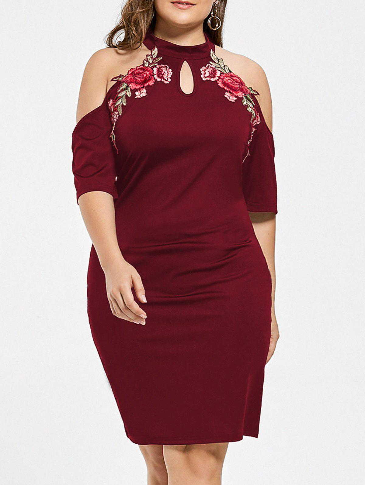 Plus Size Embroidered Cold Shoulder Keyhole DressWOMEN<br><br>Size: 2XL; Color: WINE RED; Style: Club; Material: Cotton,Polyester; Silhouette: Bodycon; Dresses Length: Knee-Length; Neckline: Keyhole Neck; Sleeve Length: Short Sleeves; Embellishment: Appliques; Pattern Type: Floral; Elasticity: Elastic; With Belt: No; Season: Fall,Spring,Summer; Weight: 0.3700kg; Package Contents: 1 x Dress;