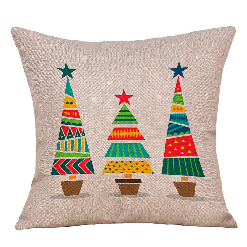 Christmas Cartoon Trees Print Decorative Linen PillowcaseHOME<br><br>Size: W18 INCH * L18 INCH; Color: OFF-WHITE; Material: Linen; Pattern: Cartoon,Tree; Style: Festival; Shape: Square; Weight: 0.0900kg; Package Contents: 1 x Pillowcase;