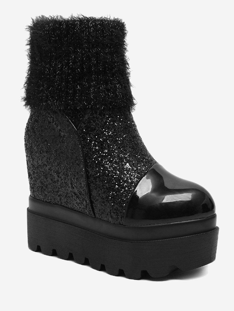 Affordable Platform Fold Over Glitter Mid Calf Boots