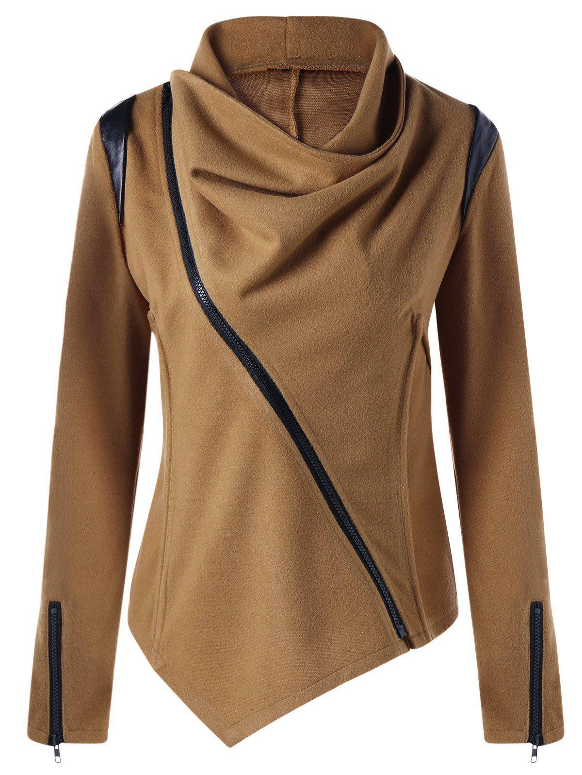 Zip Cuff Cowl Neck Asymmetrical JacketWOMEN<br><br>Size: M; Color: CAMEL; Clothes Type: Jackets; Material: Polyester; Type: Slim; Shirt Length: Long; Sleeve Length: Full; Collar: Cowl Neck; Pattern Type: Solid; Embellishment: Zippers; Style: Fashion; Season: Fall,Spring; Weight: 0.5000kg; Package Contents: 1 x Jacket;