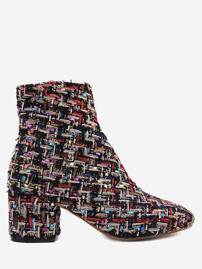 Block Heel Mix Pattern Ankle BootsSHOES &amp; BAGS<br><br>Size: 39; Color: BLACK; Gender: For Women; Boot Type: Fashion Boots; Season: Spring/Fall; Boot Height: Ankle; Toe Shape: Round Toe; Heel Type: Chunky Heel; Boot Tube Height: 12.5CM; Heel Height Range: Med(1.75-2.75); Heel Height: 6.5CM; Pattern Type: Others; Closure Type: Zip; Shoe Width: Medium(B/M); Upper Material: Stretch Fabric; Weight: 1.1200kg; Package Contents: 1 x Boots (pair);