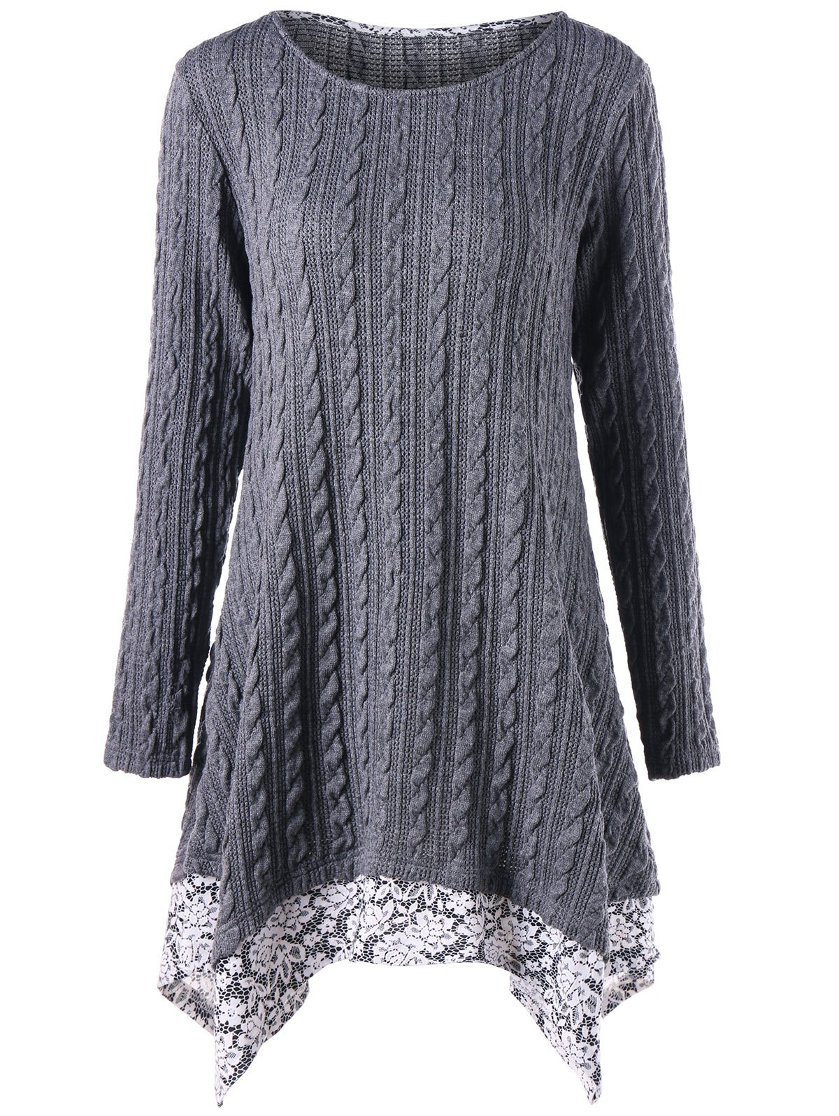 Cable Knitted Floral Trimmed Asymmetric DressWOMEN<br><br>Size: L; Color: GRAY; Style: Casual; Material: Cotton,Polyester; Silhouette: Asymmetrical; Dresses Length: Mini; Neckline: Round Collar; Sleeve Length: Long Sleeves; Pattern Type: Floral; With Belt: No; Season: Fall,Spring; Weight: 0.5490kg; Package Contents: 1 x Dress; Occasion: Causal;