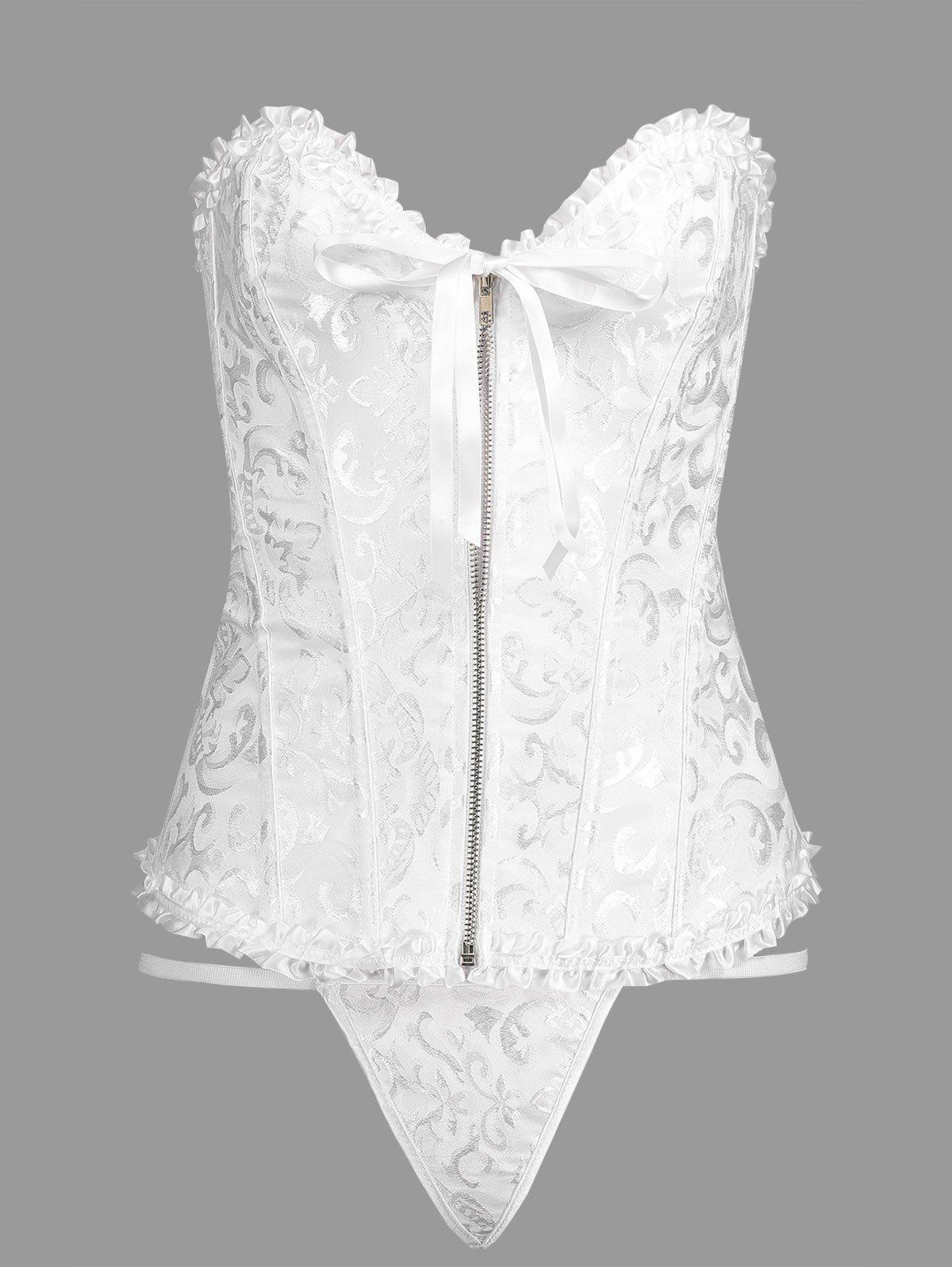Lace-up Brocade Zip CorsetWOMEN<br><br>Size: L; Color: WHITE; Material: Polyester,Spandex; Pattern Type: Solid; Embellishment: Criss-Cross,Zippers; Weight: 0.2700kg; Package Contents: 1 x Corset  1 x T Back;