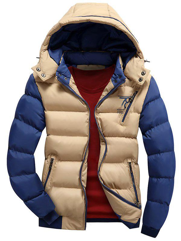 Two Tone Puffer Jacket with Detachable HoodMEN<br><br>Size: 2XL; Color: KHAKI; Clothes Type: Padded; Style: Casual; Material: Polyester; Collar: Hooded; Shirt Length: Regular; Sleeve Length: Long Sleeves; Season: Winter; Closure Type: Zipper; Crafts: Sewing; Occasion: Casual; Weight: 0.8600kg; Package Contents: 1 x Jacket;