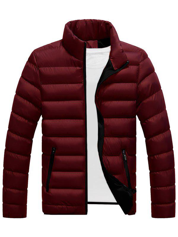 Col montant Zip Up Puffer Jacket Rouge vineux  2XL