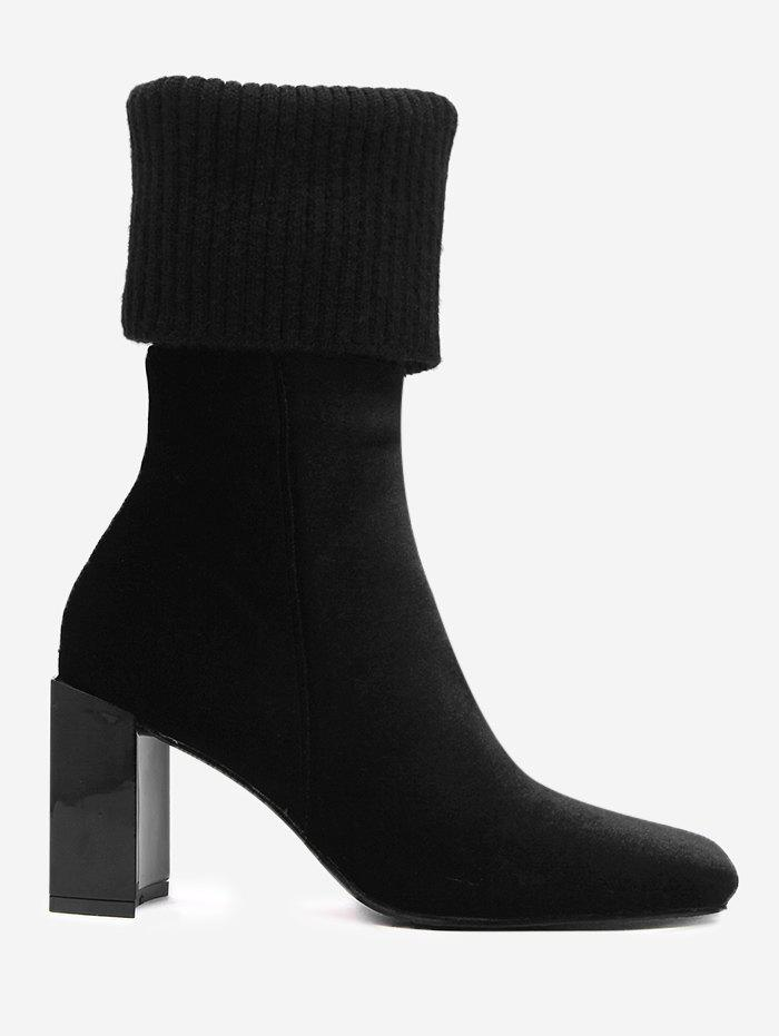 Cheap Block Heel Fold Over Square Toe Boots