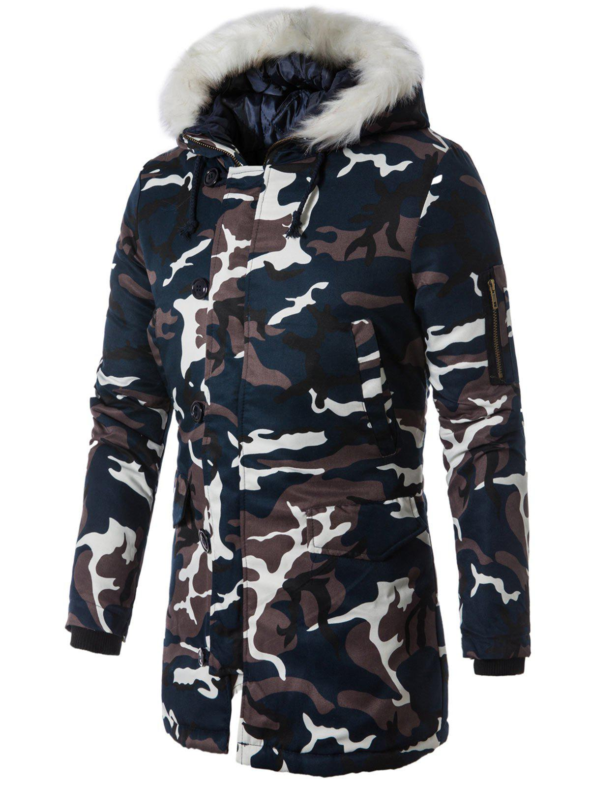 Zip Up Faux Fur Hooded Camouflage CoatMEN<br><br>Size: L; Color: PURPLISH BLUE; Clothes Type: Parkas; Style: Casual; Material: Cotton,Faux Fur,Polyester; Collar: Hooded; Shirt Length: Long; Sleeve Length: Long Sleeves; Season: Winter; Weight: 1.1000kg; Package Contents: 1 x Coat;