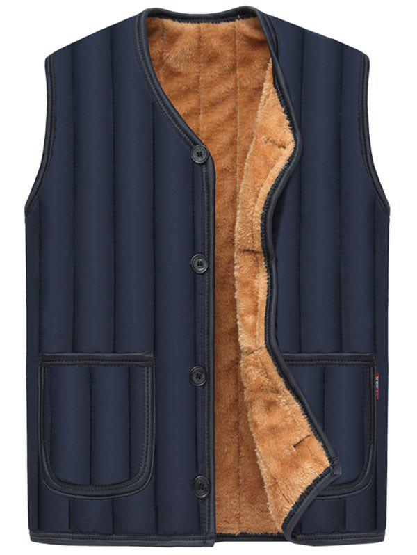 Cheap Pockets Button Up Flocking Padded Vest