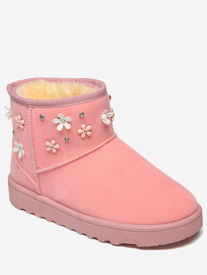 Outfits Floral Rhinestone Ankle Snow Boots