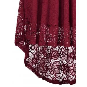 V Neck High Low Lace Midi Skater Dress - WINE RED S