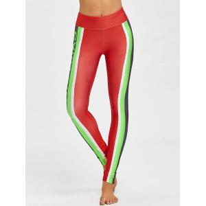 Merry Christmas Color Block Skinny Leggings -