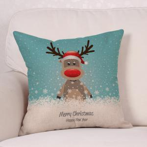 Cartoon Christmas Deer Print Decorative Linen Pillowcase -
