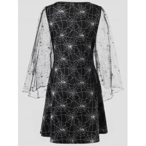Halloween Sheer Plus Size Spider Web Dress - BLACK 2XL