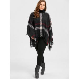 Asymmetric Turtleneck Plus Size Print Cape Sweater -