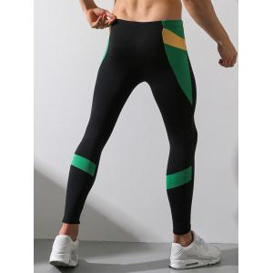 Color Block Panel Stretchy Fleece Gym Pants -
