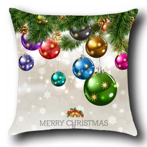 Christmas Colorful Balls Patterned Throw Pillow Case -