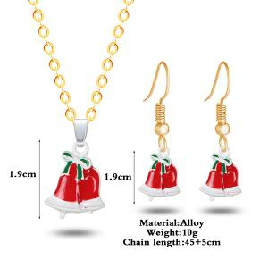 Christmas Bowknot Bells Necklace with Earrings -