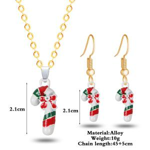 Bows Christmas Candy Cane Necklace and Earrings -