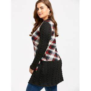 Plus Size Plaid Cable Knit Tunic Top -