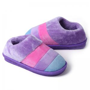 Color Block Striped Suede Slippers -