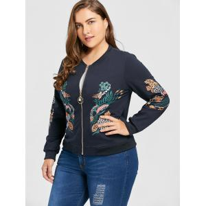 Plus Size Pearl Zipper Floral Print Jacket -