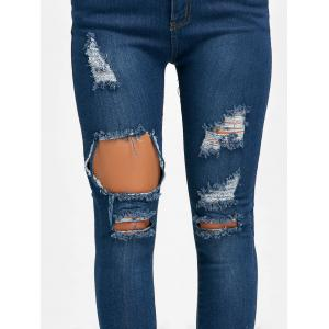 High Waisted Skinny Distressed Ripped Jeans -