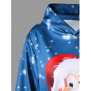 Plus Size Pullover Kangaroo Pocket 3D Father Christmas Printed  Hoodie -