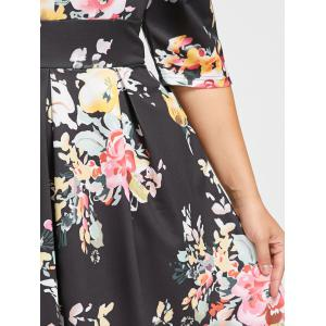 Plus Size Empire Waist Flower Print Dress -