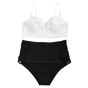 Underwire High Waisted Plus Размер Бикини Set -