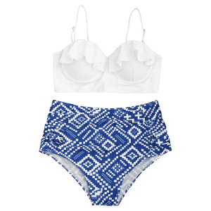 Underwire Geometrical Print Plus Размер Бикини Set -
