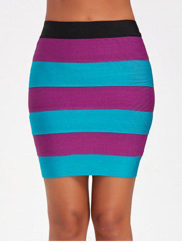 Fancy Bodycon Color Block Bandage Skirt - M COLORMIX Mobile
