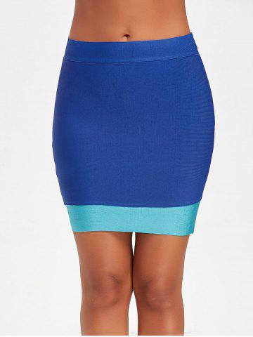 Shops Contrast Color Bodycon Bandage Skirt