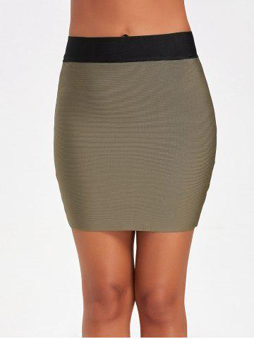 Sale Contrast Color Bodycon Bandage Skirt ARMY GREEN L
