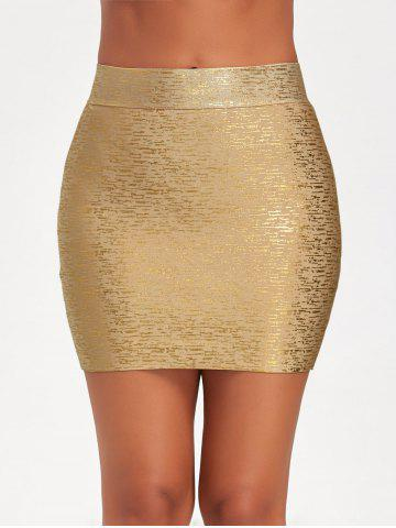 Affordable Metallic Bodycon Bandage Skirt - M GOLDEN Mobile