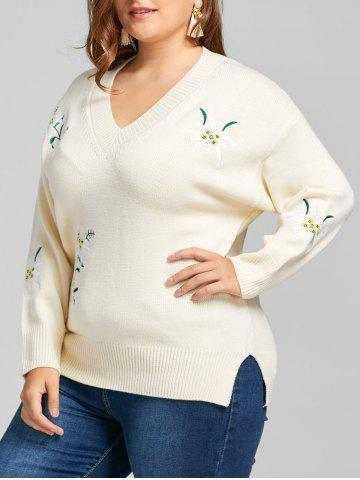 Chic Plus Size Flower Embroidered V Neck Sweater
