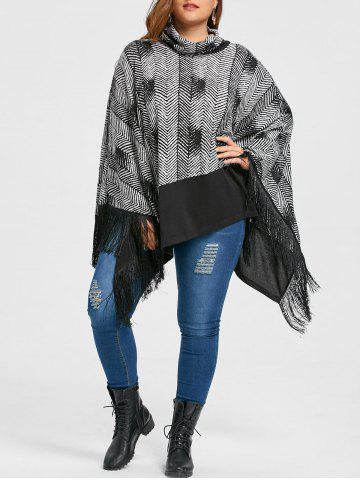 Chic Plus Size Fringe Cowl Neck Poncho Top - 5XL BLACK Mobile