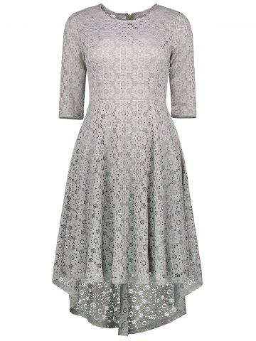 Affordable High Low Lace Crochet A Line Midi Dress GRAY S