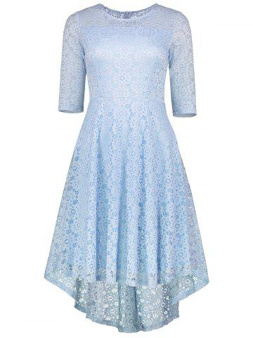 Online High Low Lace Crochet A Line Midi Dress CLOUDY 2XL