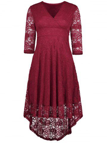 Online V Neck High Low Lace Midi Skater Dress WINE RED S